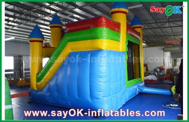 Дети дом голубых/желтого цвета коммерчески раздувной прыжка с скольжением 3 лет гарантии